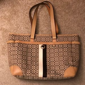 Coach Voyager XL Khaki Tan Signature Diaper Bag